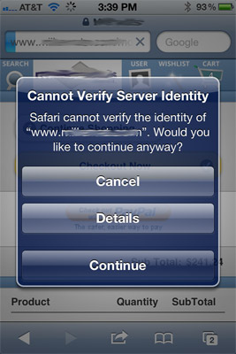 "iPhone iPad ""cannot verify server identity"" SSL issue and resolution"